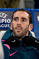 LONDON,ENGLAND - DECEMBER 05: Atletico Madrid (2) Diego Godín during the UEFA Champions League group C match between Chelsea FC and Atletico Madrid at Stamford Bridge on December 5, 2017 in London, United Kingdom.  <br /> ( Photo by Sebastian Frej / MB Media )