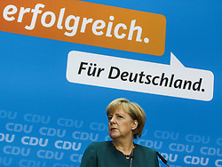 60517470<br /> German Chancellor and chancellor candidate for the Christian Democratic Union (CDU) Angela Merkel attends a press conference in Berlin,Germany, on Sept. 23, 2013. Merkel said Monday that she had already contacted the Social Democrats (SPD) leadership on possible coalition negotiations but did not rule out talks with other potential coalition partners., Monday,   September 23, 2013,<br /> Picture by imago / i-Images<br /> UK ONLY