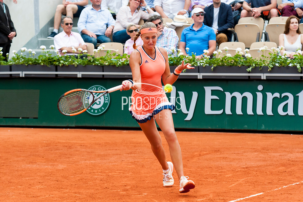 Kristina Mladenovic (fra) during the Roland Garros French Tennis Open 2018, day 2, on May 28, 2018, at the Roland Garros Stadium in Paris, France - Photo Pierre Charlier / ProSportsImages / DPPI