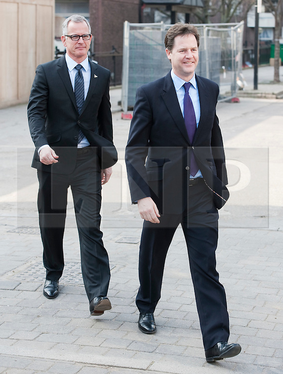 © London News Pictures. 23/03/2012. London, UK.  Liberal Democrat Leader Nick Clegg (right) and London Liberal Democrat mayoral candidate Brian Paddick (left)  during a walk around Islington, London on March 23, 2012. The Liberal Democrats  have worked with the police in the local area to reduce crime. Photo credit: Ben Cawthra/LNP
