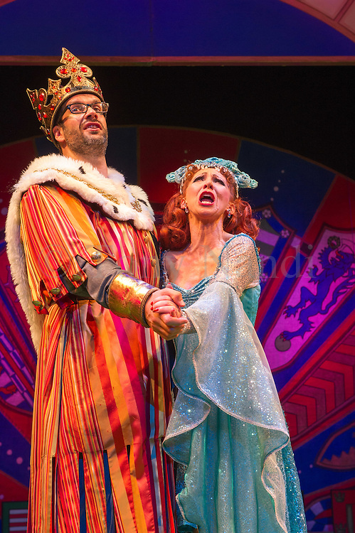 Lovingly ripped off from the classic film comedy Monty Python and the Holy Grail, Spamalot is making a triumphant return to the London West End, at the Harold Pinter Theatre. Featuring Jon Culshaw as King Arthur, Marcus Brigstock as Sir Lancelot, Bonnie Langford as The Lady of the Lake and Todd Carty as Patsy. Picture shows Marcus Brigstocke and Bonnie Langford.