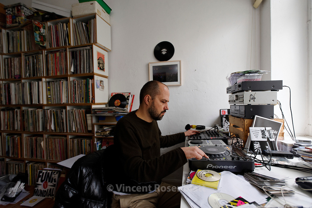 DJ Daniel Haaksman at home in Berlin. Owner of Man Recordings, Haaksman is the main publisher of Baile Funk music outside Brazil, promoting international exchanges & remixes with DJ's from all over the world.