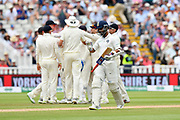 Wicket - Ajinkya Rahane of India walks back to the pavilion after being dismissed by Ben Stokes of England during second day of the Specsavers International Test Match 2018 match between England and India at Edgbaston, Birmingham, United Kingdom on 2 August 2018. Picture by Graham Hunt.