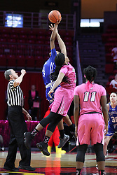 NORMAL, IL - February 10: Charlie Hust tosses the tip off for Ty Battle and Simone Goods during a college women's basketball Play4Kay game between the ISU Redbirds and the Indiana State Sycamores on February 10 2019 at Redbird Arena in Normal, IL. (Photo by Alan Look)