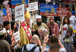 © Licensed to London News Pictures. 03/06/2018. London, UK. Faith leaders gather together following a minutes silence for the victims of the 2017 London Bridge Terror attack, held on London Bridge. Eight people were killed and 48 were injured when a van was deliberately driven into pedestrians on London Bridge. Three occupants then ran to the nearby Borough Market area carrying knives and fake explosives. Photo credit: Ben Cawthra/LNP