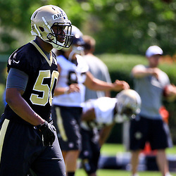 May 28, 2015; New Orleans, LA, USA; New Orleans Saints linebacker Stephone Anthony (50) during organized team activities at the New Orleans Saints Training Facility. Mandatory Credit: Derick E. Hingle-USA TODAY Sports