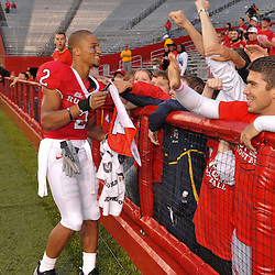 Sep 12, 2009; Piscataway, NJ, USA; Rutgers wide receiver Tim Brown (2) celebrates with the student section following Rutgers' 45-7 victory over Howard in NCAA college football at Rutgers Stadium