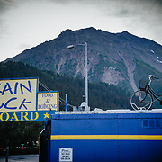 The exterior of the the Train Wreck and Seward Mountain Bike Shop in Seward, Alaska.