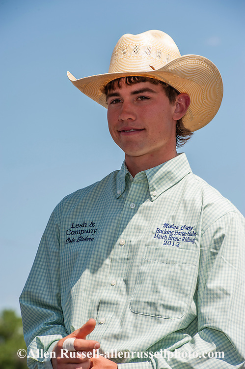 Match Saddle Bronc Rider, NFR Qualifier, Cole Elshere, Miles City Bucking Horse Sale, Montana.