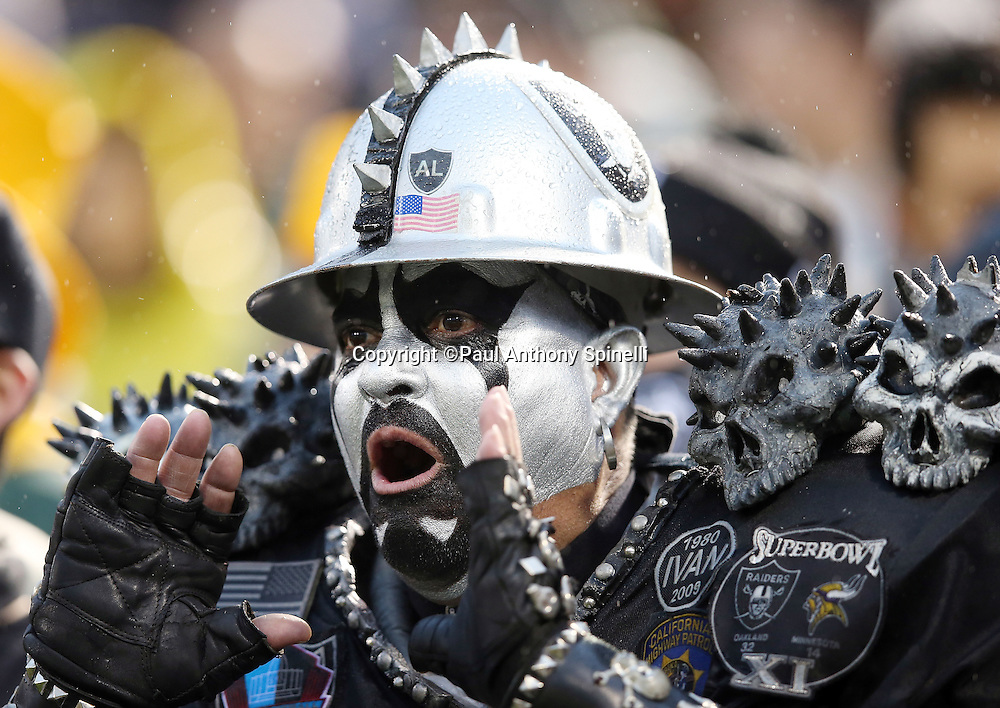An Oakland Raiders fan wears a scary looking costume as he yells out during the Oakland Raiders 2015 week 15 regular season NFL football game against the Green Bay Packers on Sunday, Dec. 20, 2015 in Oakland, Calif. The Packers won the game 30-20. (©Paul Anthony Spinelli)