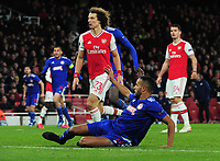 Football - 2019 / 2020 UEFA Europa League - Round of Thirty-Two, Second Leg: Arsenal (1) vs. Olympiakos (0)<br /> <br /> Youssef El Arabi of Olympiakos,scores the winning goal in the last minute of extra time at the Emirates Stadium.<br /> <br /> COLORSPORT/ANDREW COWIE