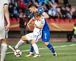 September 2, 2017 - Tampere, Finland - Iceland's Johann Gudmundsson and Finland's Jere Uronen during the FIFA World Cup 2018 Group I football qualification match between Finland and Iceland in Tampere, Finland, on September 2, 2017. (Credit Image: © Antti Yrjonen/NurPhoto via ZUMA Press)