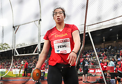 STOCKHOLM, May 31, 2019  Feng Bin of China competes during the women's discus throw at 2019 IAAF Diamond League in Stockholm, capital of Sweden, on May 30, 2019. Feng Bin won the 4th place with 63.87m. (Credit Image: © Xinhua via ZUMA Wire)