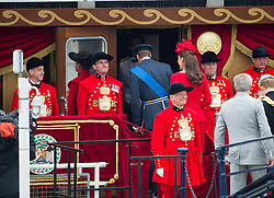 © Licensed to London News Pictures. 03/06/2012. London, UK. Kate Middleton and Prince WIlliam boarding the Royal Barge Gloriana during the Jubilee Pageant on the River Thames, London on June 03,2012 as part of The Diamond Jubilee celebrations. Great Britain is celebrating the 60th  anniversary of the countries Monarch HRH Queen Elizabeth II accession to the throne . Photo credit : Ben Cawthra/LNP