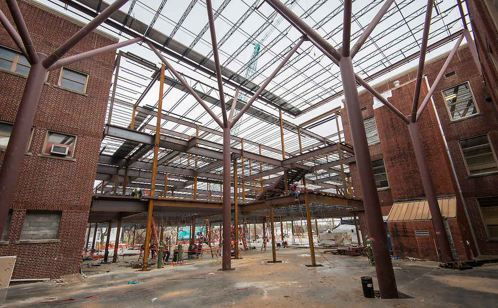 Construction at Young Women's College Preparatory Academy, January 25, 2017.