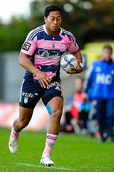 Stade Francais Flanker (#7) Remi Bonfils carries the ball in the second half - Photo mandatory by-line: Rogan Thomson/JMP - Tel: Mobile: 07966 386802 13/10/2012 - SPORT - RUGBY - Kassam Stadium - Oxford. London Welsh v Stade Francais - European Challenge Cup