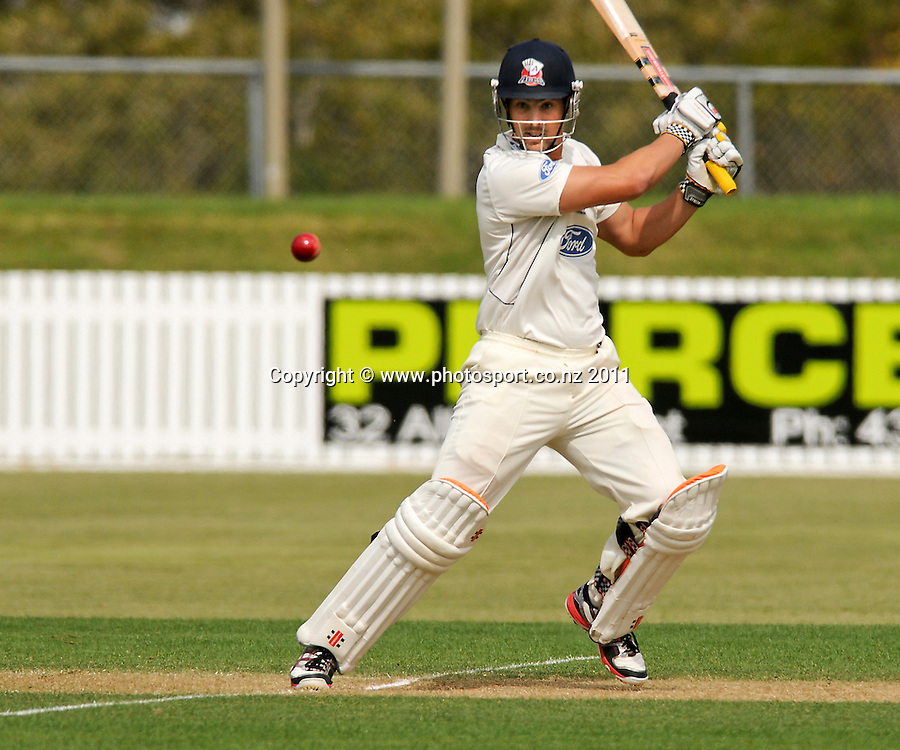 Auckland batsman Anaru Kitchen in a four day Plunket Shield cricket match at Cobham Oval, Whangarei, New Zealand, Tuesday November 8, 2011. Credit:Malcolm Pullman /Photosport