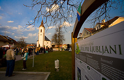 Church's square at reception of Slovenian athlete Petra Majdic at her home town when she arrived home with small cristal globus at the end of the nordic season 2008/2009, on March 24, 2009, in Dol pri Ljubljani, Slovenia. (Photo by Vid Ponikvar / Sportida)