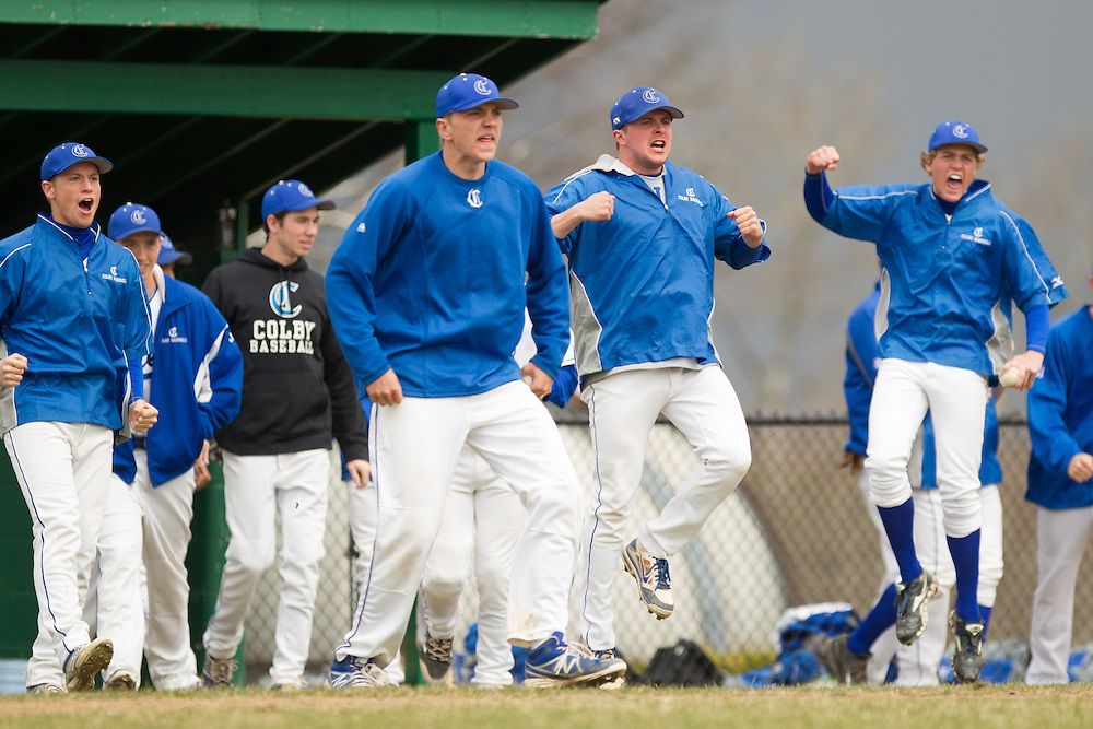 Scott Goldberg and Greg Ladd of Colby College, during a NCAA Division III baseball game against Bates College on April 25, 2014 in Waterville, ME. (Dustin Satloff/Colby Athletics)