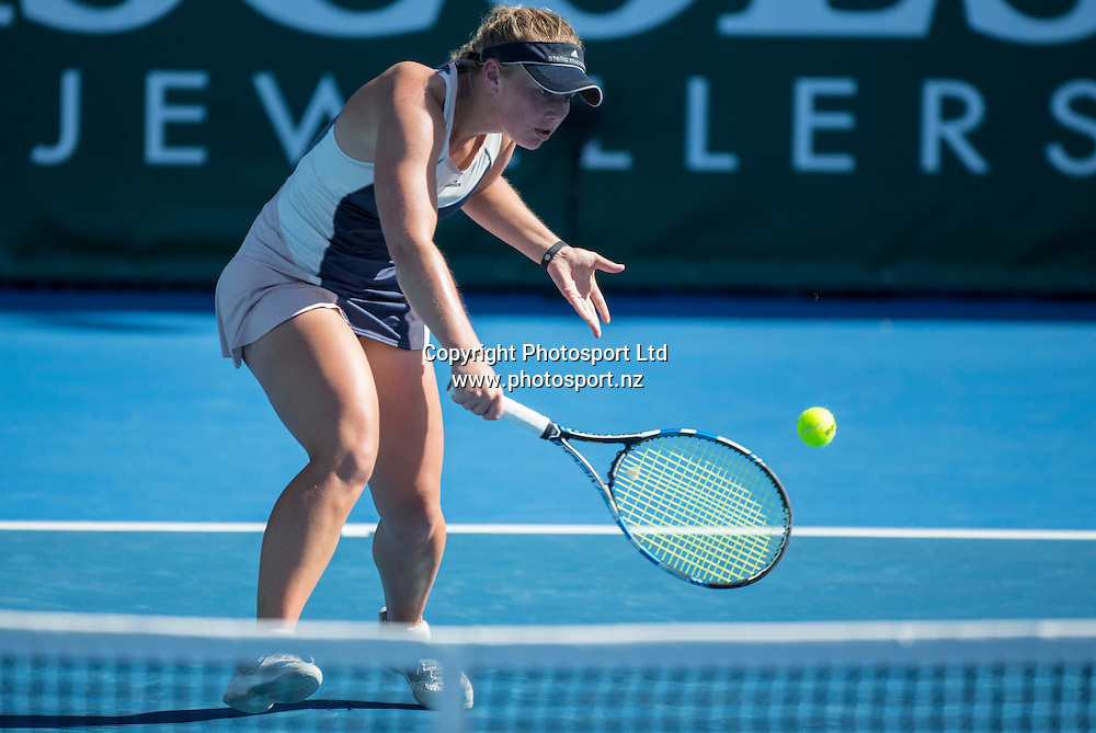 Paige Hourigan in action during the womens singles final in the Pacoes NZ Tennis Champs held at the ASB Tennis Arena in Auckland. <br /> Credit; Peter Meecham/ www.photosport.nz