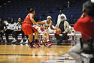 """Ole Miss' Diara Moore (10) vs. Lamar's Jasmin Henderson (44) in women's college basketball at the C.M. """"Tad"""" Smith Coliseum in Oxford, Miss. on Monday, November 19, 2012.  Lamar won 85-71."""