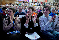 © Licensed to London News Pictures. 11/01/2019. London, UK.  Co-leader of the Green party Caroline Lucas (centre) listens to speakers at a convention for second EU referendum, organised by 'Another Vote is Possible', a pro-EU organisation. MPs are currently debating British Prime Minister Theresa May's EU withdrawal deal, with a vote on the deal due to take place on 15th January. Photo credit : Tom Nicholson/LNP