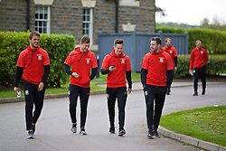 CARDIFF, WALES - Friday, October 7, 2016: Wales' Emyr Huws, Ben Davies, Tom Lawrence and Paul Dummett during a team walk at the Vale Resort ahead of the 2018 FIFA World Cup Qualifying Group D match against Georgia. (Pic by David Rawcliffe/Propaganda)