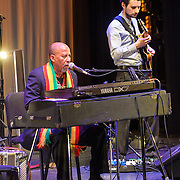WASHINGTON, DC - February 11th, 2014 - Hailu Mergia (left) performs on the Millennium Stage at the Kennedy Center. Mergia, a star of Ethiopian music in the 1970s as a member of the Walias Band, now drives a cab in Washington, D.C. (Photo by Kyle Gustafson / For The Washington Post)