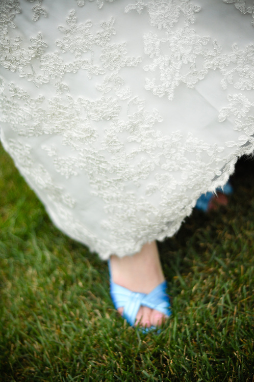 Anne's blue bridal shoes, Crystal Tree Golf & Country Club, Chicago