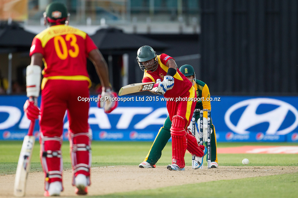 Zimbabwe's Chamu Chibhabha batting during the ICC Cricket World Cup match - South Africa v Zimbabwe at Seddon Park, Hamilton, New Zealand on Sunday 15 February 2015.  Photo:  Bruce Lim / www.photosport.co.nz