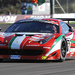 AF Corse, John Dhillon &amp; Aaron Scott, Ferrari 458 Italia GT3, GT3.<br /> Taken during the final round of the Avon Tyres British GT Championship held at Donington Park race track, Leicestershire on the 6th October 2013.<br /> WAYNE NEAL | SPORTPIX.ORG.UK