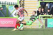 Jacob Maddox and Joseph Mills during the EFL Sky Bet League 2 match between Forest Green Rovers and Cheltenham Town at the New Lawn, Forest Green, United Kingdom on 20 October 2018.