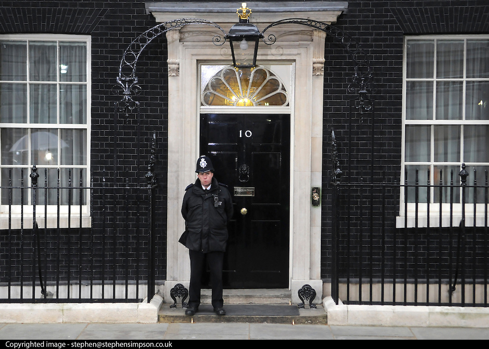 © under license to London News Pictures. 11/05/10. A policeman stands outside Number 10 Downing Street. British Prime Minister Gordon Brown has resigned his position and David Cameron has become the new British Prime Minister on May 11, 2010. The Conservative and Liberal Democrats are to form a coalition government after five days of negotiation. Photo credit should read Stephen Simpson/LNP