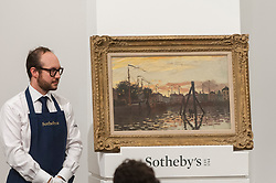 © Licensed to London News Pictures. 19/06/2018. LONDON, UK. ''Le Port De Zaandam'' by Claude Monet, (Est. £3,500,000 - 5,000,000) failed to sell at Sotheby's Impressionist & Modern art evening sale in New Bond Street.  Photo credit: Stephen Chung/LNP