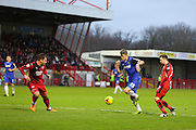 Michael Tonge of Stevenage pushes forward during the Sky Bet League 2 match between Crawley Town and Stevenage at the Checkatrade.com Stadium, Crawley, England on 26 December 2015. Photo by Phil Duncan.