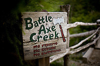 Opal Creek campgrounds Oregon, battle axe creek sign