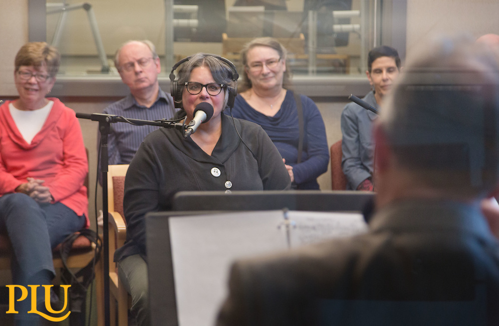 Robin Lloyd chats with Jazz students and faculty  in the studio of KPLU on Wednesday, April 29, 2015. (Photo: John Froschauer/PLU)