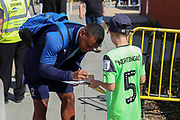 AFC Wimbledon Kyron Stabana (14) arriving during the EFL Sky Bet League 1 match between AFC Wimbledon and Wycombe Wanderers at the Cherry Red Records Stadium, Kingston, England on 31 August 2019.