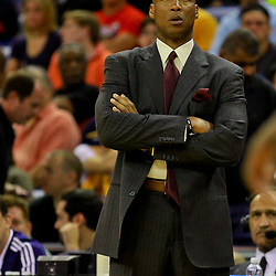Apr 8, 2016; New Orleans, LA, USA; Los Angeles Lakers head coach Byron Scott against the New Orleans Pelicans during the first quarter of a game at the Smoothie King Center. Mandatory Credit: Derick E. Hingle-USA TODAY Sports