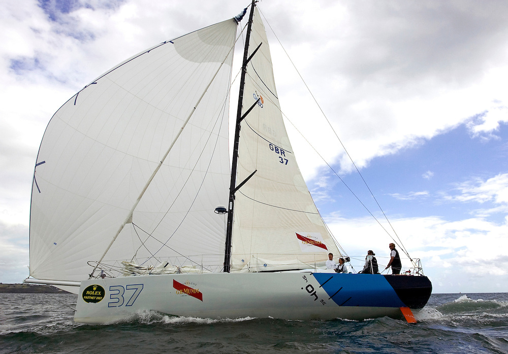 "Plymouth, England, Rolex Fastnet Race Finish 07, 16AUG07. Miranda Merron's Class 40 ""40 Degrees"" crosses the finish line"