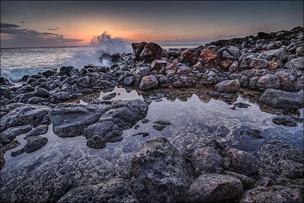 Waves at Papohaku Beach, Molokai, Hawaii