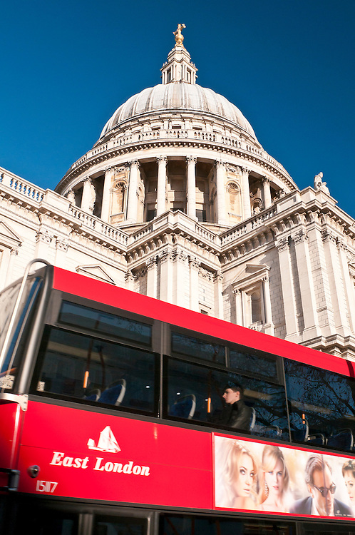 St. Paul's Cathedral, with red London bus, London, United Kingdom