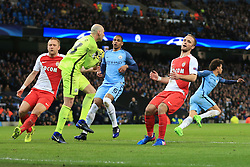 21st February 2017 - UEFA Champions League - Round of 16 (1st Leg) - Manchester City v AS Monaco - Dejection for Valere Germain of Monaco as Man City goalkeeper Wilfredo Caballero catches the ball - Photo: Simon Stacpoole / Offside.