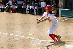 28 April 2007: Kara Nelson executes a bunt. The Southern Illinois Salukis played the Illinois State Redbirds on the campus of Illinois State University in Normal Illinois.