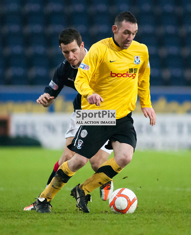 Michael Moffat gets away from Kieran Duffie ,Falkirk v Ayr, SFL Division 1 League Match, Falkirk Stadium