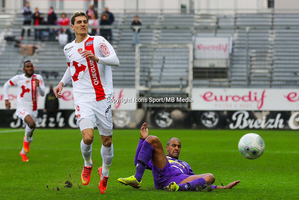 Nicolas VERDIER / Cedric KANTE  - 20.12.2014 - Brest / Ajaccio - 18eme journee de Ligue 2 -<br /> Photo : Vincent Michel / Icon Sport