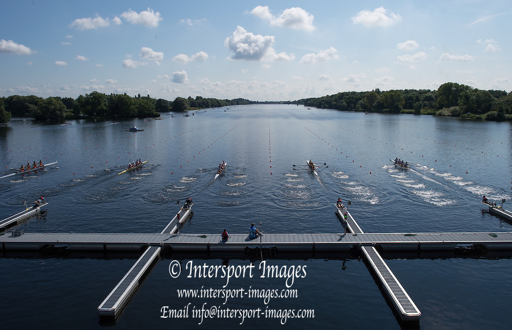 Hamburg. GERMANY.  General View of the start of the Junior Men's four,  Repechage at the 2014 FISA Junior World rowing. Championships.  12:46:13  Friday  08/08/2014  [Mandatory Credit; Peter Spurrier/Intersport-images]