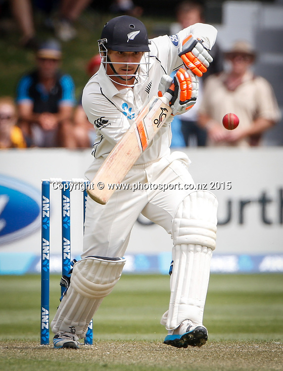 BJ Watling plays a shot.  First day, second test, ANZ Cricket Test series, New Zealand Black Caps v Sri Lanka, 03 January 2015, Basin Reserve, Wellington, New Zealand. Photo: John Cowpland / www.photosport.co.nz
