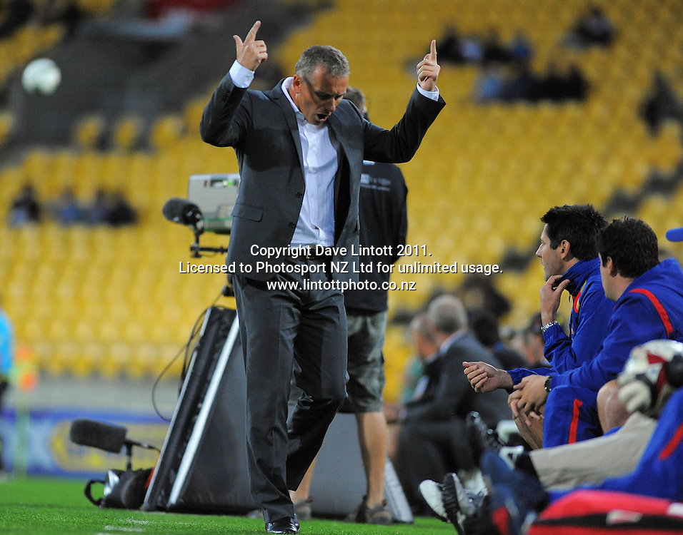 Jets coach Gary Van Egmond gestures in frustration during the A-League football match between Wellington Phoenix v Newcastle Jets at Westpac Stadium, Wellington, New Zealand on Friday, 23 December 2011. Photo: Dave Lintott / lintottphoto.co.nz