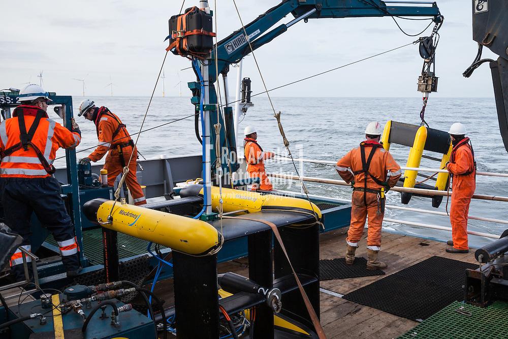 A Macartney Focus 2 Remotely Operated Towed Vehicle (ROTV) being deployed from the N-Sea vessel, Noordhoek Pathfinder, off Borkum, in the German North Sea